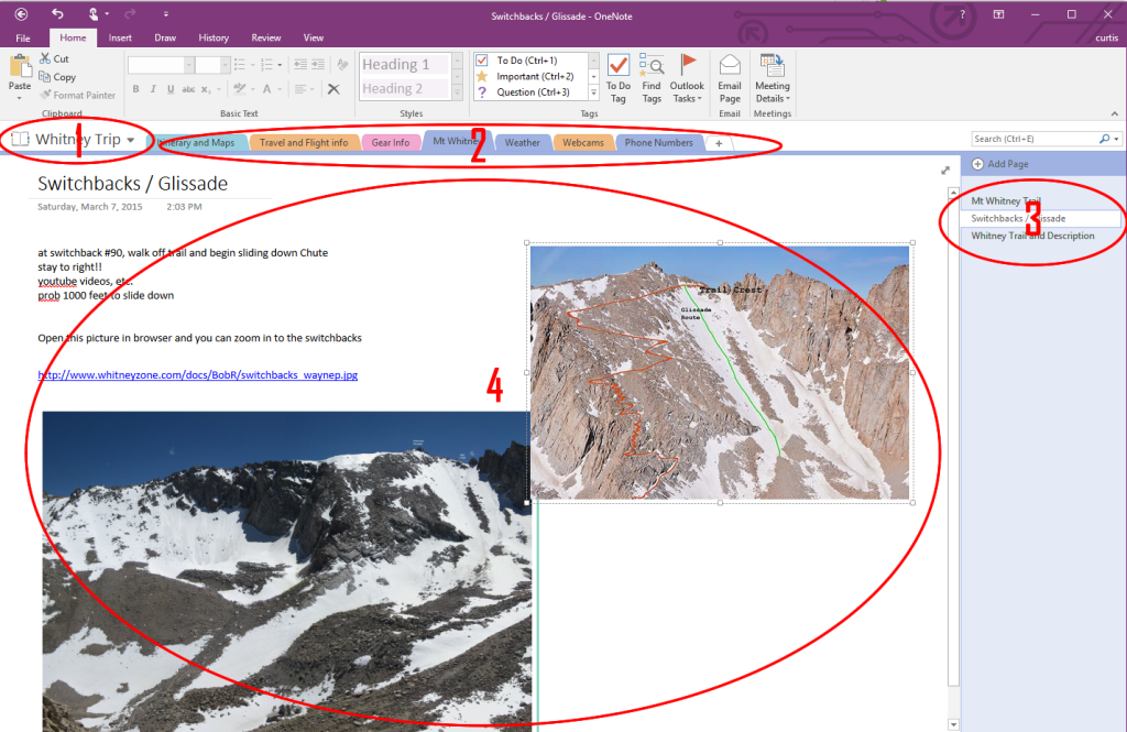 Figure 1 – OneNote Sections